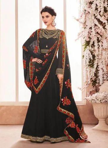 c6f6ab6e9e Black Georgette Abaya Style Anarkali Dress, Rs 3465 /piece | ID ...