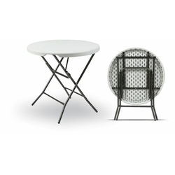 Wonderplast White And Brown Restaurant Center Folding Table, Size: 32 Inch Diameter X 30 Inch