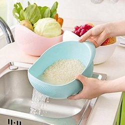 1 Piece Rice Pulses Fruits Vegetable Washing Bowl & Strainer