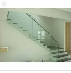 Stairs Polished Stainless Glass Railings, Mounting Type: Floor