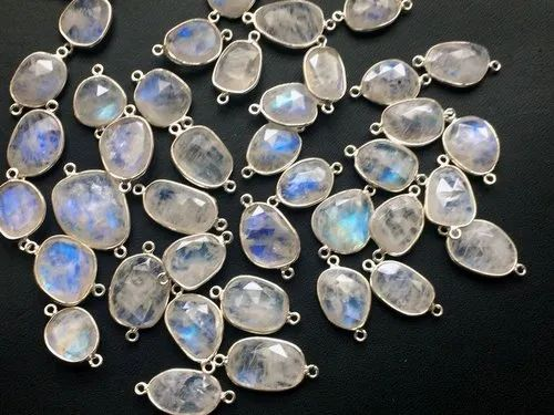 Rainbow Moonstone Double Loop Connectors 925 Sterling Silver Bezel Findings