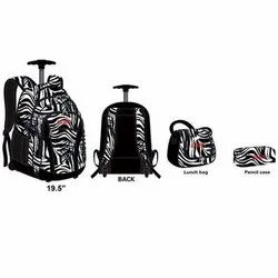 Kids School Trolley Backpack White/ Black Color