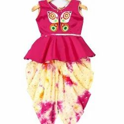 Silk Butterfly Embroidery Peplum With Dyed Dhoti- Pink, Size: 5-7 Years