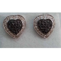 Real Diamonds Heart Handmade 925 Silver Diamond Earring Jewelry