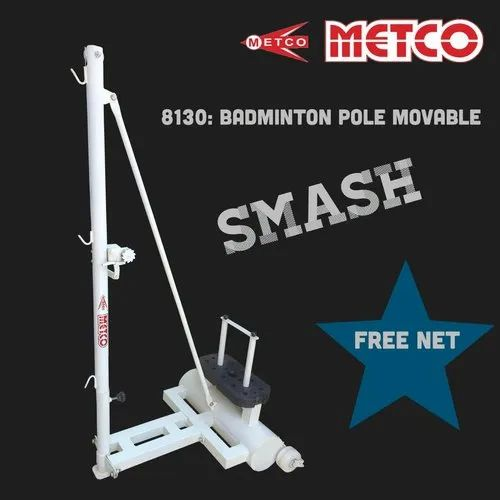 White Badminton Pole Movable, For Indoor/Outdoor