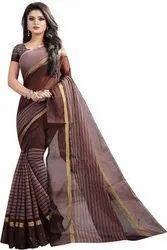 Printed vimalnath synthetics Striped Fashion Poly Cotton Saree (Brown)