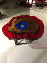 Motion art Red & Blue Epoxy Resin Center Table, Warranty: 1 Year