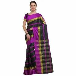 Black Colored Poly Silk Stripped Casual Wear Saree