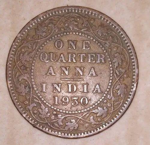 Copper One Quarter Anna Rs 100000 Gram Rtb Antique