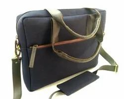 Blue Canvas Briefcase Shoulder Bag
