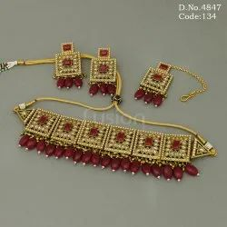 Polki Mehendi Polish Choker Necklace Set