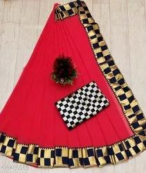 Party Wear Printed Saree, With blouse piece, 5.5 m (separate blouse piece)