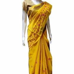 Party Wear Embroidered Indian Kota Doria Cotton Saree, 6 m (with blouse piece)