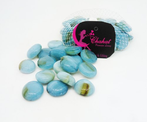 Chahat Premium Living Oval Shape Sky Blue With Brown Color Stone