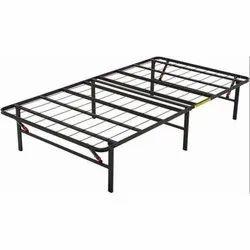 Black Foldable Iron Bed Frame, Size: 6x4 Feet