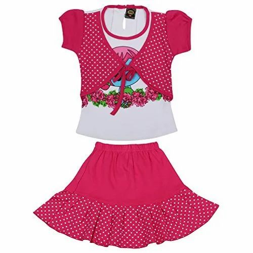 Pink & White Party Wear Kids Skirt & Top With Jacket, Age: 1 to 10 Years