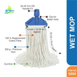 Cotton 5000 Legend Clip & Fit Mop, Cut End - 300 g, Size: Length 30