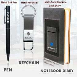 3 In 1 Gift Set Notebook Diary With Pen And Keychain - Giftana