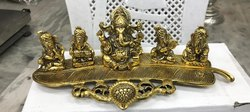 Gold Plated 5 Ganesh Deepak