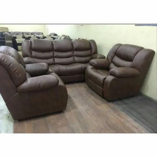 Modern Manual 5 Seater Leather Recliner, Modern Reclining Sofas