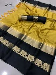 Cotton Woven Saree with Blouse Piece, Length: 6 m