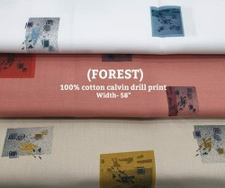 Forest 100% Cotton Calvin Drill Print Fabric