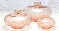 Baby Pink Glass Vase Honeycomb Cut
