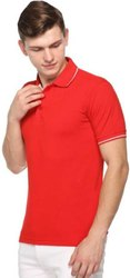 Cotton Plain Samyak Wear Red Half Sleeve Polo T-Shirt