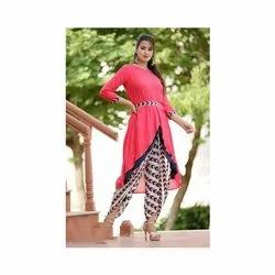 Party Wear Ladies Plain Rayon Kurti With Dhoti Pant, Size: M-Xxl, Wash Care: Dry clean
