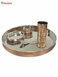 Copper / Stainless Steel Thali Set (5 Pcs)