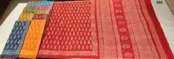 Hand Block Prints Bridal Wear Mull Mull Cotton Sarees, Without blouse piece, 5.5 m (separate blouse piece)