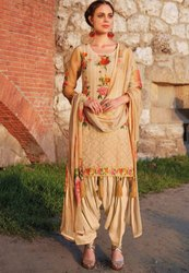 Beige Embroidered Patiala Kameez