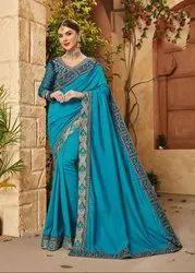 Azure Blue Embroidered Silk Saree