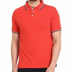 Cotton Plain Mens Polo Neck T Shirt