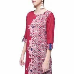 Burgundy Straight Kurta