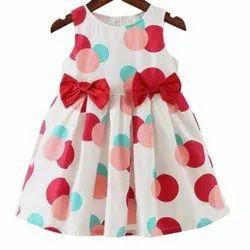 Party Wear Girl Kids Cotton Polka Frock