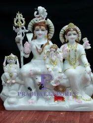 Shiva Parvati Ganesha Marble Statue