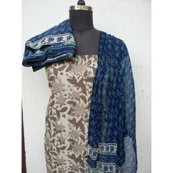 44-45 Grey, Blue Unstitched Cotton Suits Material