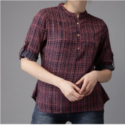 Checks Women Navy & Red Checked Shirt-Style Top