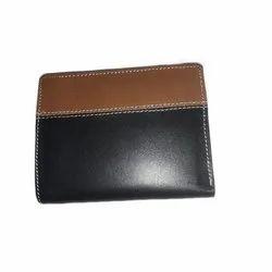 Leather Brown and Black Men Bi Fold Wallet