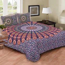Indian Multi Naptol Peacock Print Duvet Doona Cover