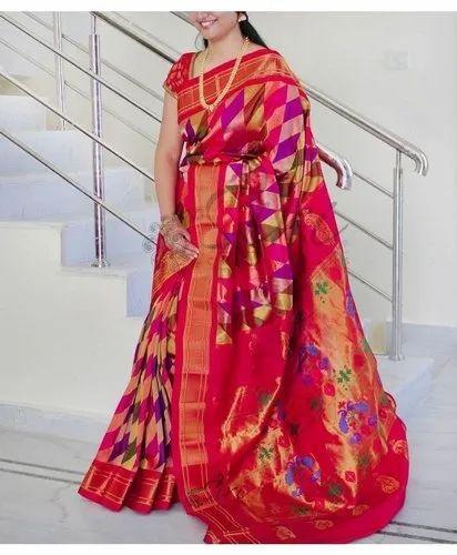 c6c4a45984 Red Pure Silk Kadiyal Paithani Saree, Rs 18500 /piece, Gajanan ...