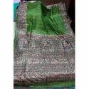 Silk Green Fancy Hand Painted Saree, Length: 6.3 m