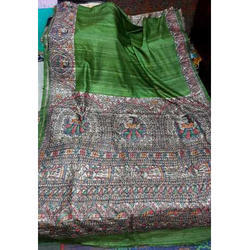 Silk Green Fancy Hand Painted Saree, Length: 6.3 m