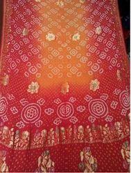 36c9a4aa29ff6 Georgette Red And Peach Banarasi Kutchi Bandhani Saree Red