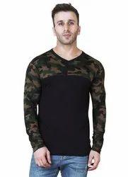 Full Sleeves Round VEIRDO 100 Percent Cotton Black Printed T-Shirt