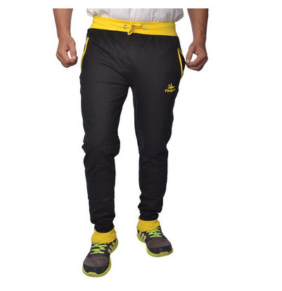 Mens Cotton Track Pants With Zipper Pockets Black Yellow At Rs 499