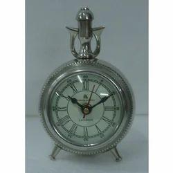 Silver Unique Analog Table Clock
