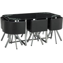 Black av furnitures DINING TABLE SIX SEATER, Seating Capacity: 6