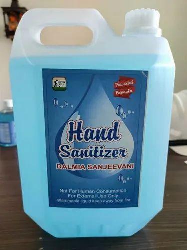Dalmia 80% Ethyl Alcohol Based Hand Sanitizer 5000 Ml, Min Qty 100 Nos